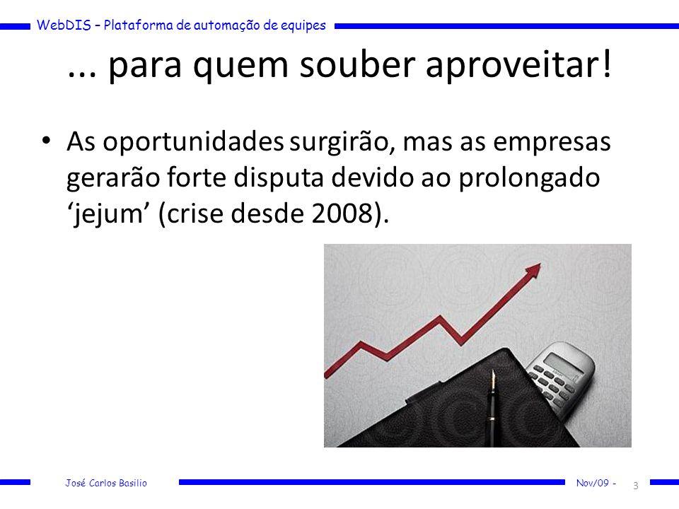 WebDIS – Plataforma de automação de equipes José Carlos Basilio Nov/09 -... para quem souber aproveitar! As oportunidades surgirão, mas as empresas ge