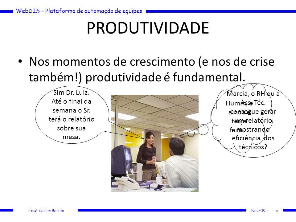WebDIS – Plataforma de automação de equipes José Carlos Basilio Nov/09 - PRODUTIVIDADE Nos momentos de crescimento (e nos de crise também!) produtivid
