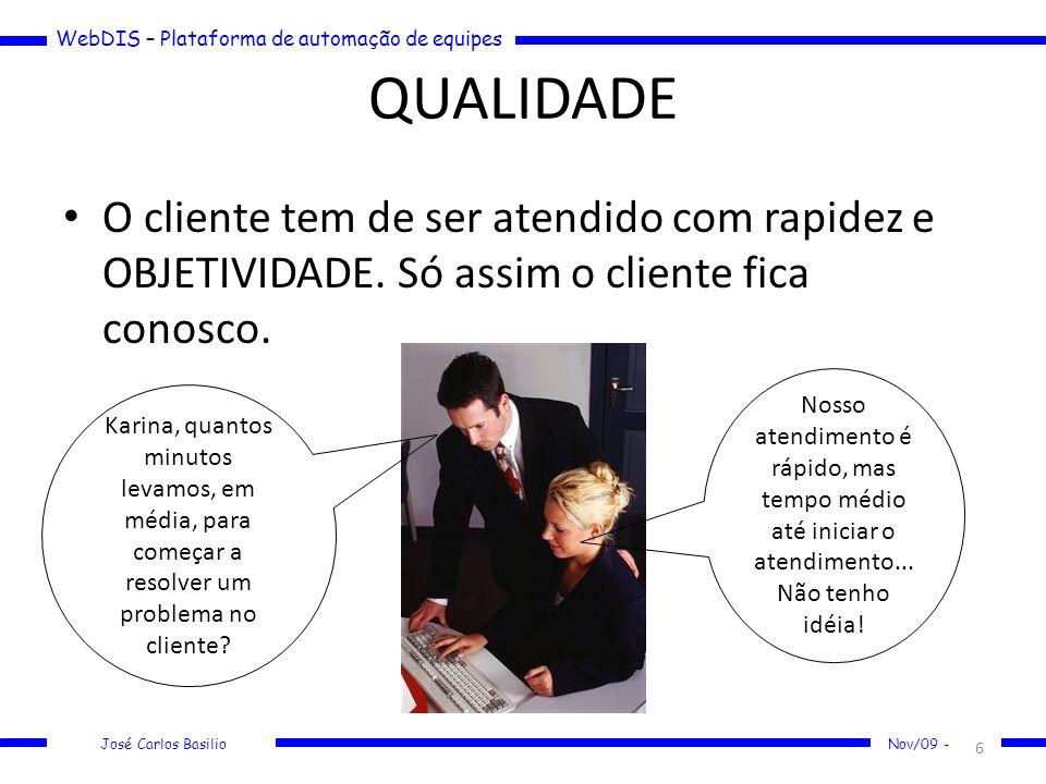 WebDIS – Plataforma de automação de equipes José Carlos Basilio Nov/09 - QUALIDADE O cliente tem de ser atendido com rapidez e OBJETIVIDADE. Só assim