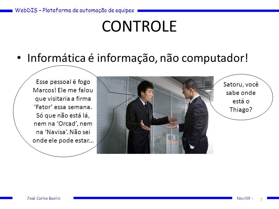 WebDIS – Plataforma de automação de equipes José Carlos Basilio Nov/09 - CONTROLE Informática é informação, não computador! 7 Esse pessoal é fogo Marc