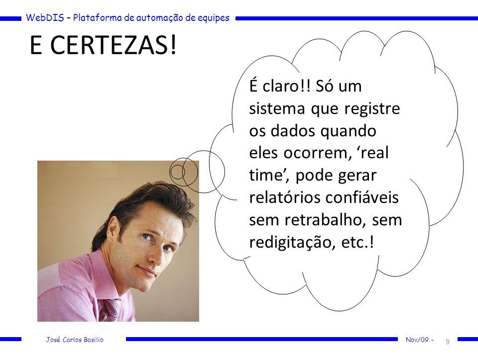 WebDIS – Plataforma de automação de equipes José Carlos Basilio Nov/09 - E CERTEZAS! 9 É claro!! Só um sistema que registre os dados quando eles ocorr
