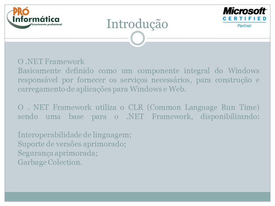 Introdução O.NET Framework Basicamente definido como um componente integral do Windows responsável por fornecer os serviços necessários, para construç