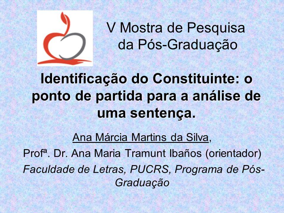 Ana Márcia Martins da Silva, Profª. Dr. Ana Maria Tramunt Ibaños (orientador) Faculdade de Letras, PUCRS, Programa de Pós- Graduação Identificação do