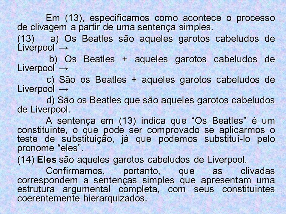 Em (13), especificamos como acontece o processo de clivagem a partir de uma sentença simples. (13) a) Os Beatles são aqueles garotos cabeludos de Live