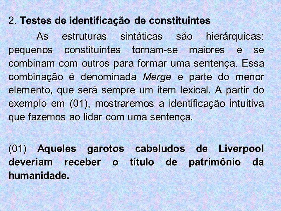2. Testes de identificação de constituintes As estruturas sintáticas são hierárquicas: pequenos constituintes tornam-se maiores e se combinam com outr