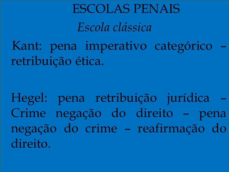 ESCOLAS PENAIS Escola clássica Kant: pena imperativo categórico – retribuição ética. Hegel: pena retribuição jurídica – Crime negação do direito – pen