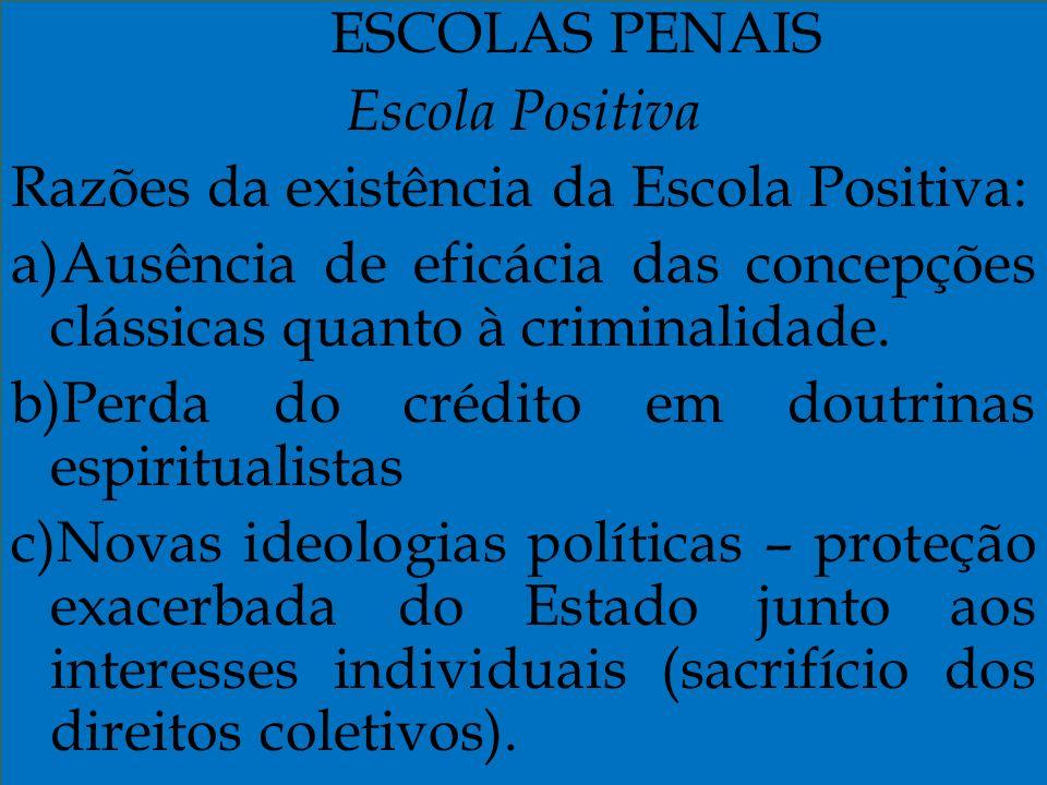 ESCOLAS PENAIS Escola Positiva Razões da existência da Escola Positiva: a)Ausência de eficácia das concepções clássicas quanto à criminalidade. b)Perd