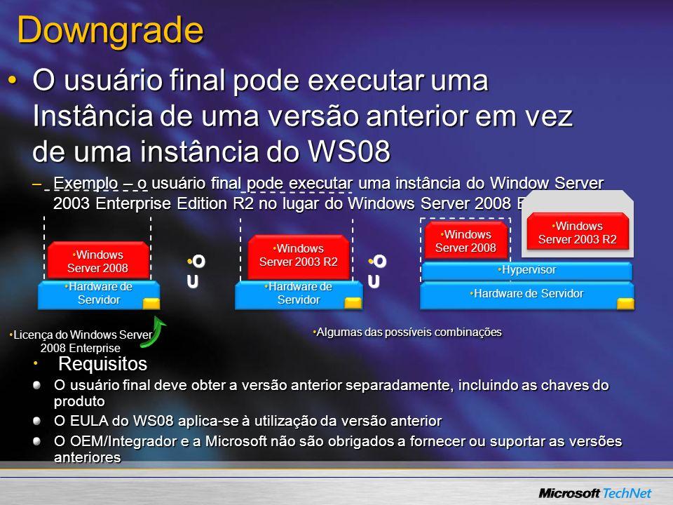 Downgrade O usuário final pode executar uma Instância de uma versão anterior em vez de uma instância do WS08O usuário final pode executar uma Instânci