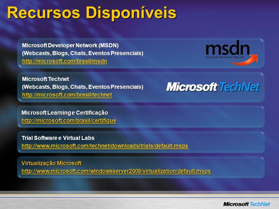 Recursos Disponíveis Microsoft Developer Network (MSDN) (Webcasts, Blogs, Chats, Eventos Presenciais) http://microsoft.com/brasil/msdn Trial Software