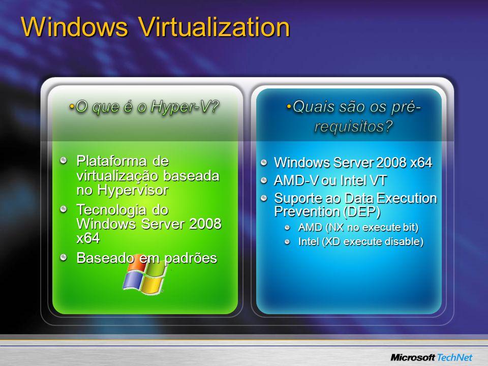 Detalhes da Arquitetura – Hyper-V OS MS / XenSource Novell ISV/IHV/OEM Virtualização Windows Server Partição Parent Modo Kernel Modo Usuário Partições Child AplicaçõesAplicaçõesAplicaçõesAplicaçõesAplicaçõesAplicações Hypervisor do Windows Windows Server 2003, 2008 Kernal Windows VSCVSC Hardware Designed for Windows Server AMD-V, Intel VT Windows 2008 Kernel do Windows EmulaçãoEmulaçãoVMBusVMBusVMBusVMBusVMBusVMBus Hypercall Adapter Kernel Linux (Xen- enabled) Linux VSCs SO não preparado p/ Hypervisor Virtualization Stack WMI Provider VM Service VM Worker Process VSPVSP Kernel SO Driver IHV