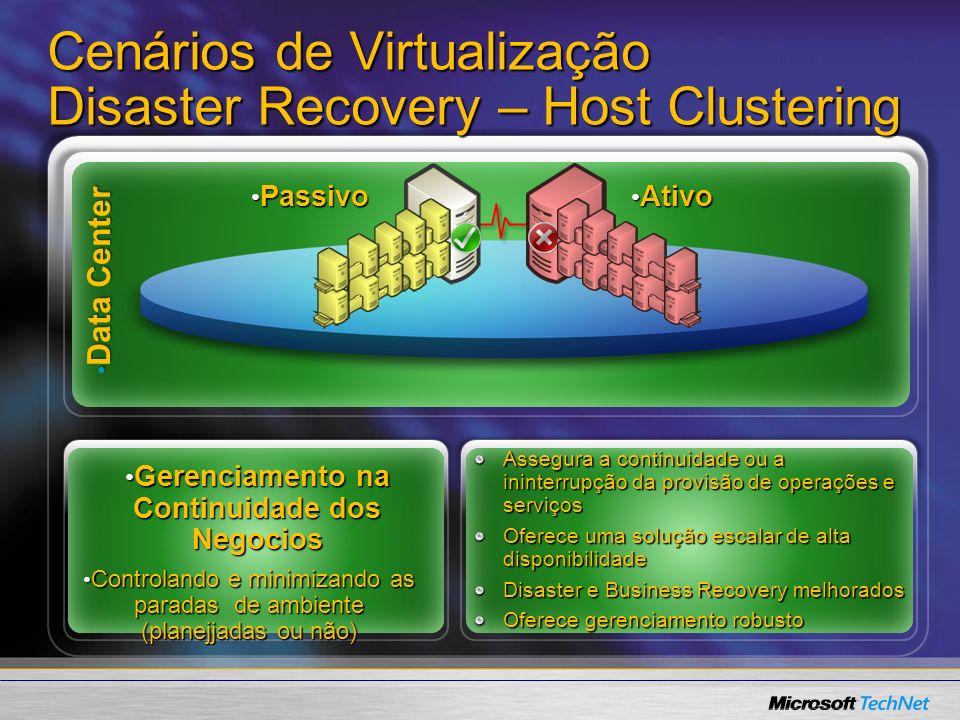 System Center Virtual Machine Manager Ferramenta para garantir o bom gerenciamento –Estado de Máquinas Virtuais –Criação de Máquinas Virtuais –Armazenamento de VMs e templates –Provisionamento (Self-Service) –Conversão (V2V, P2V) –Movimentação de Máquinas Virtuais Intelligent PlacementIntelligent Placement