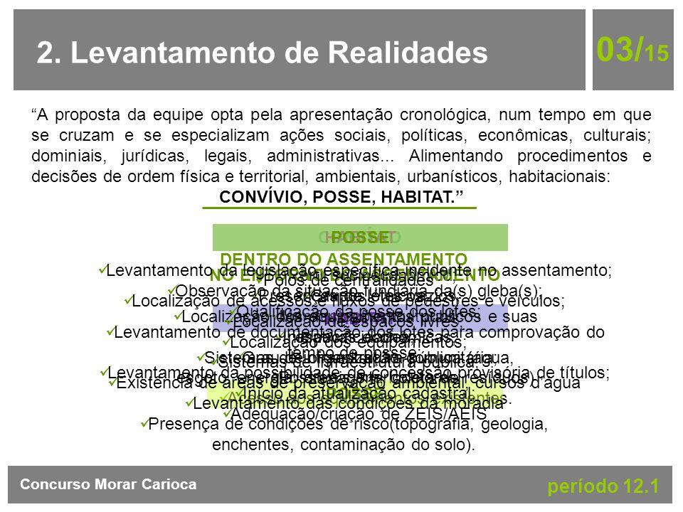 2. Levantamento de Realidades 03/ 15 Concurso Morar Carioca período 12.1 A proposta da equipe opta pela apresentação cronológica, num tempo em que se