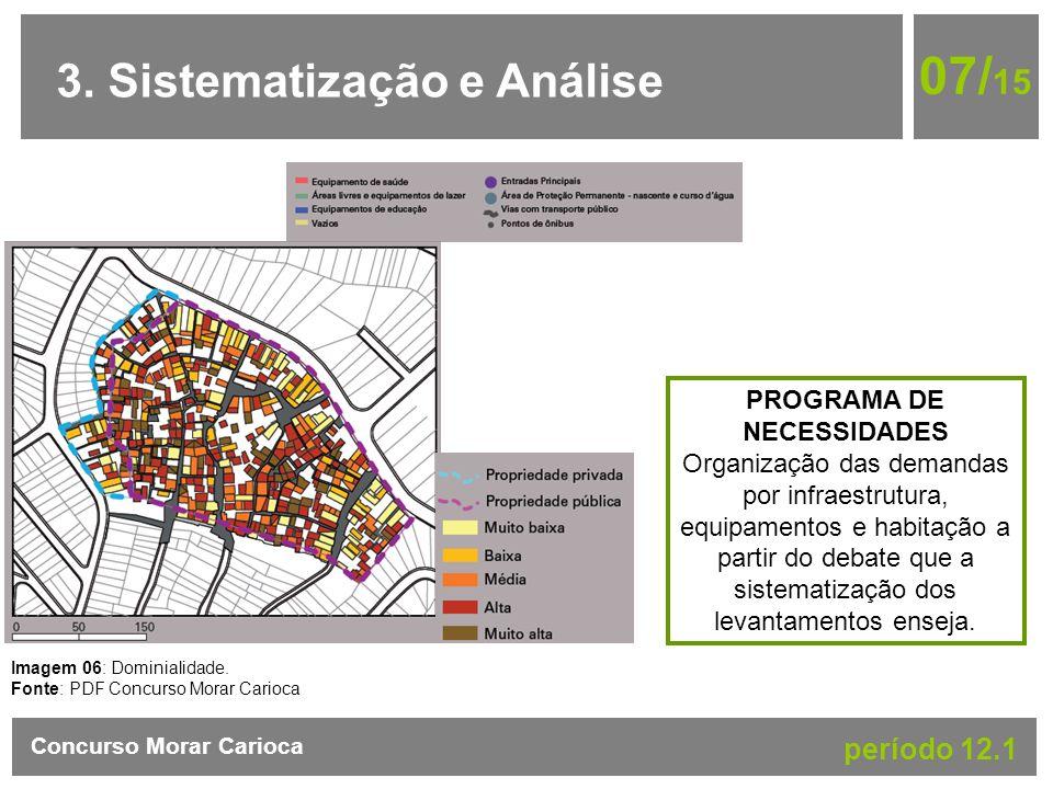 3. Sistematização e Análise 07/ 15 Concurso Morar Carioca período 12.1 Imagem 06: Dominialidade. Fonte: PDF Concurso Morar Carioca PROGRAMA DE NECESSI