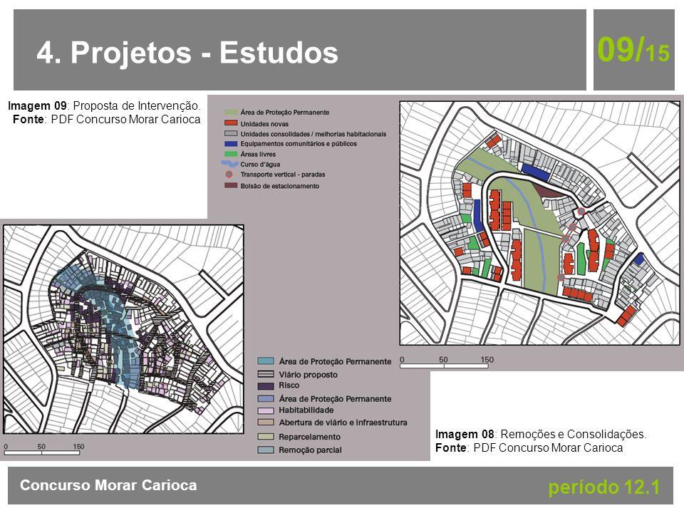 4. Projetos - Estudos 09/ 15 Concurso Morar Carioca período 12.1 Imagem 08: Remoções e Consolidações. Fonte: PDF Concurso Morar Carioca Imagem 09: Pro