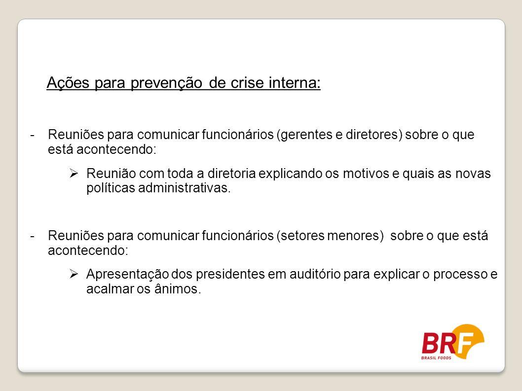 Ações para prevenção de crise interna: -Reuniões para comunicar funcionários (gerentes e diretores) sobre o que está acontecendo: Reunião com toda a d