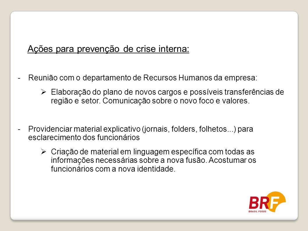 Ações para prevenção de crise interna: -Reunião com o departamento de Recursos Humanos da empresa: Elaboração do plano de novos cargos e possíveis tra
