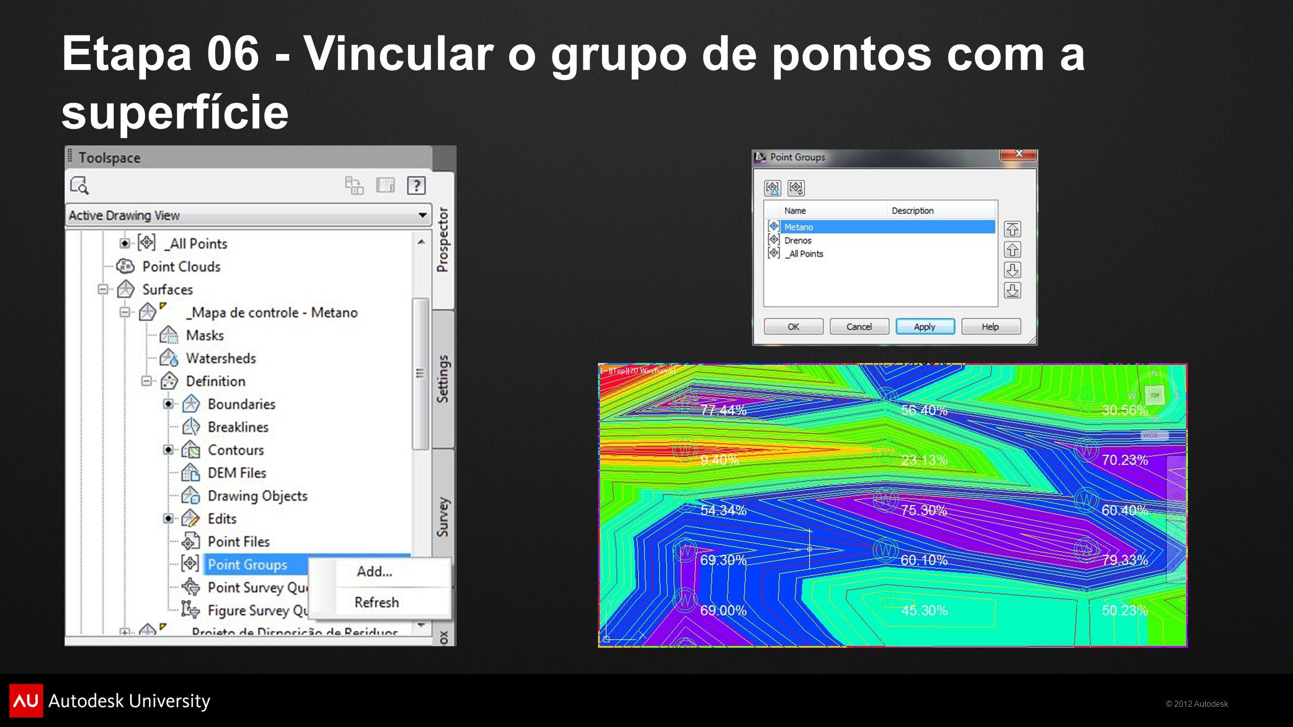 © 2012 Autodesk Etapa 06 - Vincular o grupo de pontos com a superfície