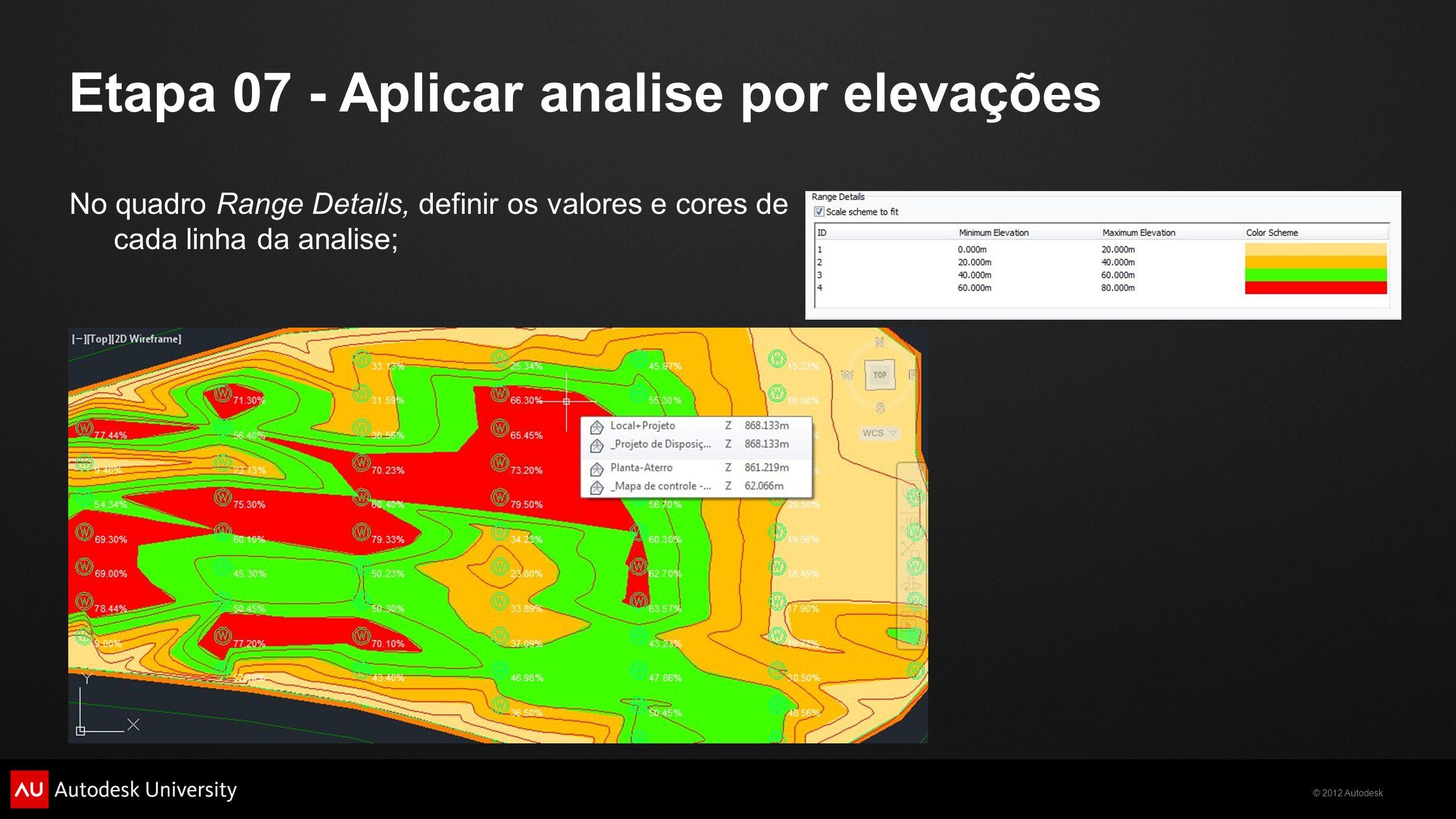 © 2012 Autodesk No quadro Range Details, definir os valores e cores de cada linha da analise; Etapa 07 - Aplicar analise por elevações