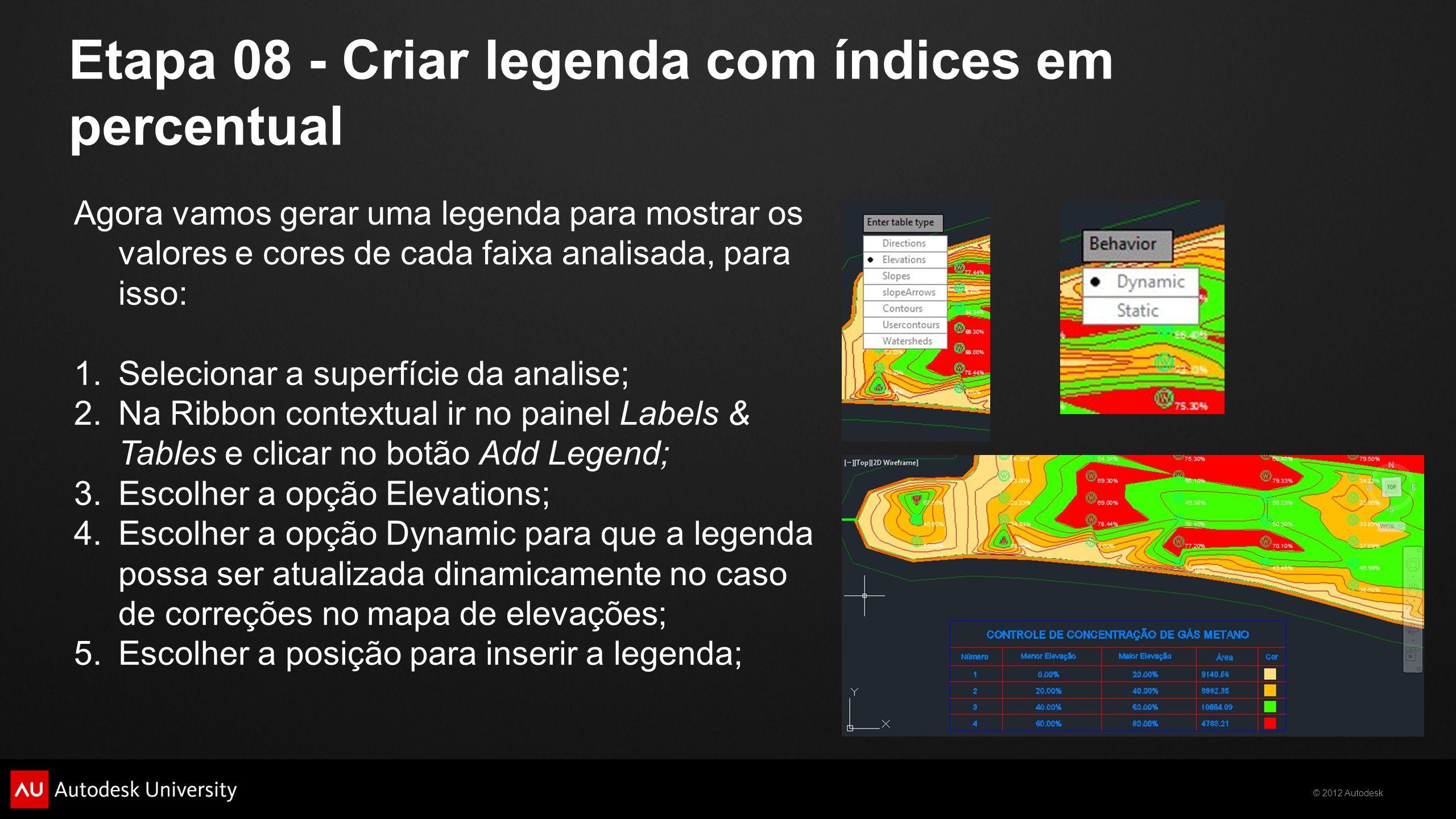 © 2012 Autodesk Etapa 08 - Criar legenda com índices em percentual Agora vamos gerar uma legenda para mostrar os valores e cores de cada faixa analisa