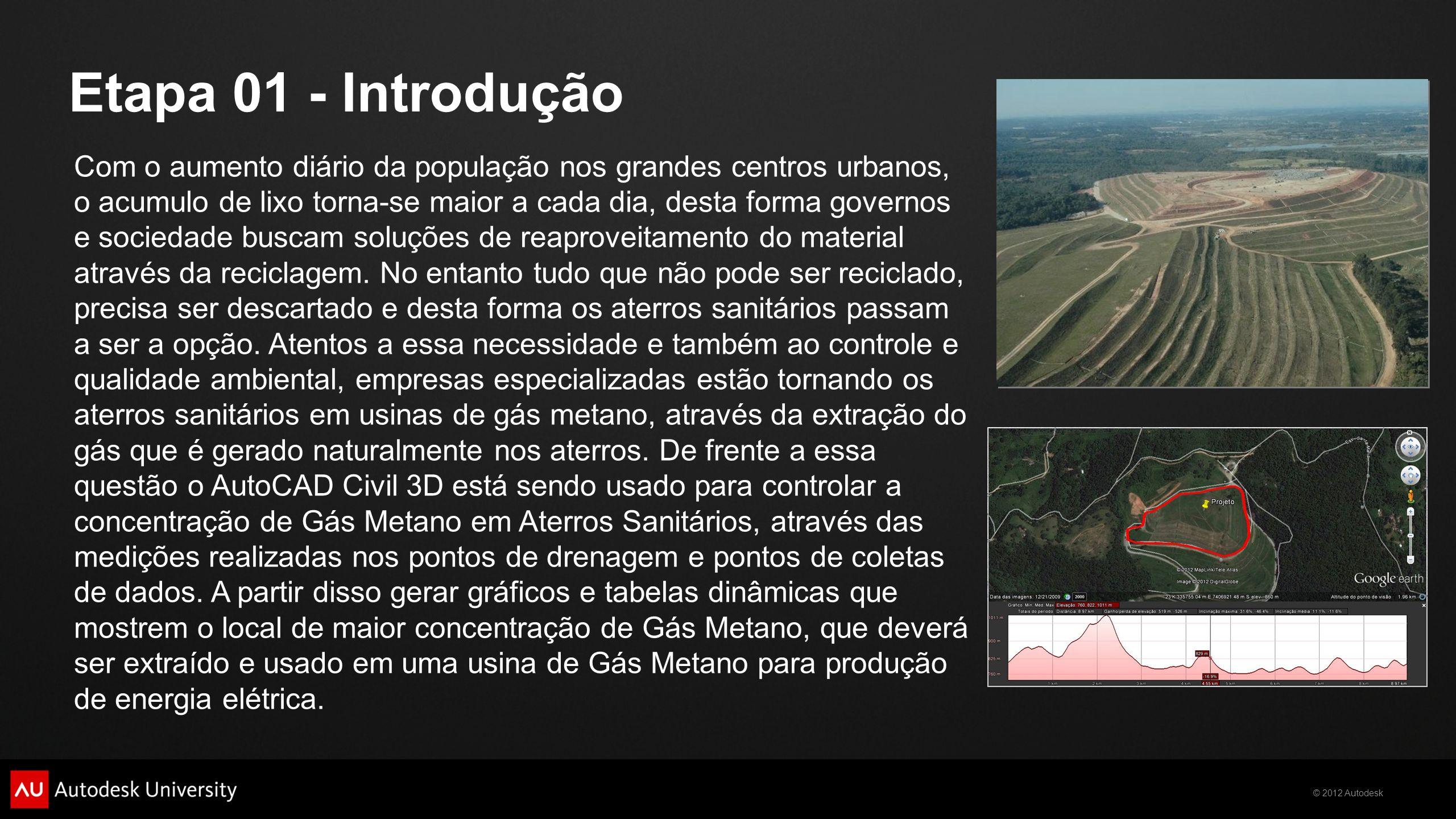 © 2012 Autodesk Etapa 01 - Introdução Com o aumento diário da população nos grandes centros urbanos, o acumulo de lixo torna-se maior a cada dia, dest