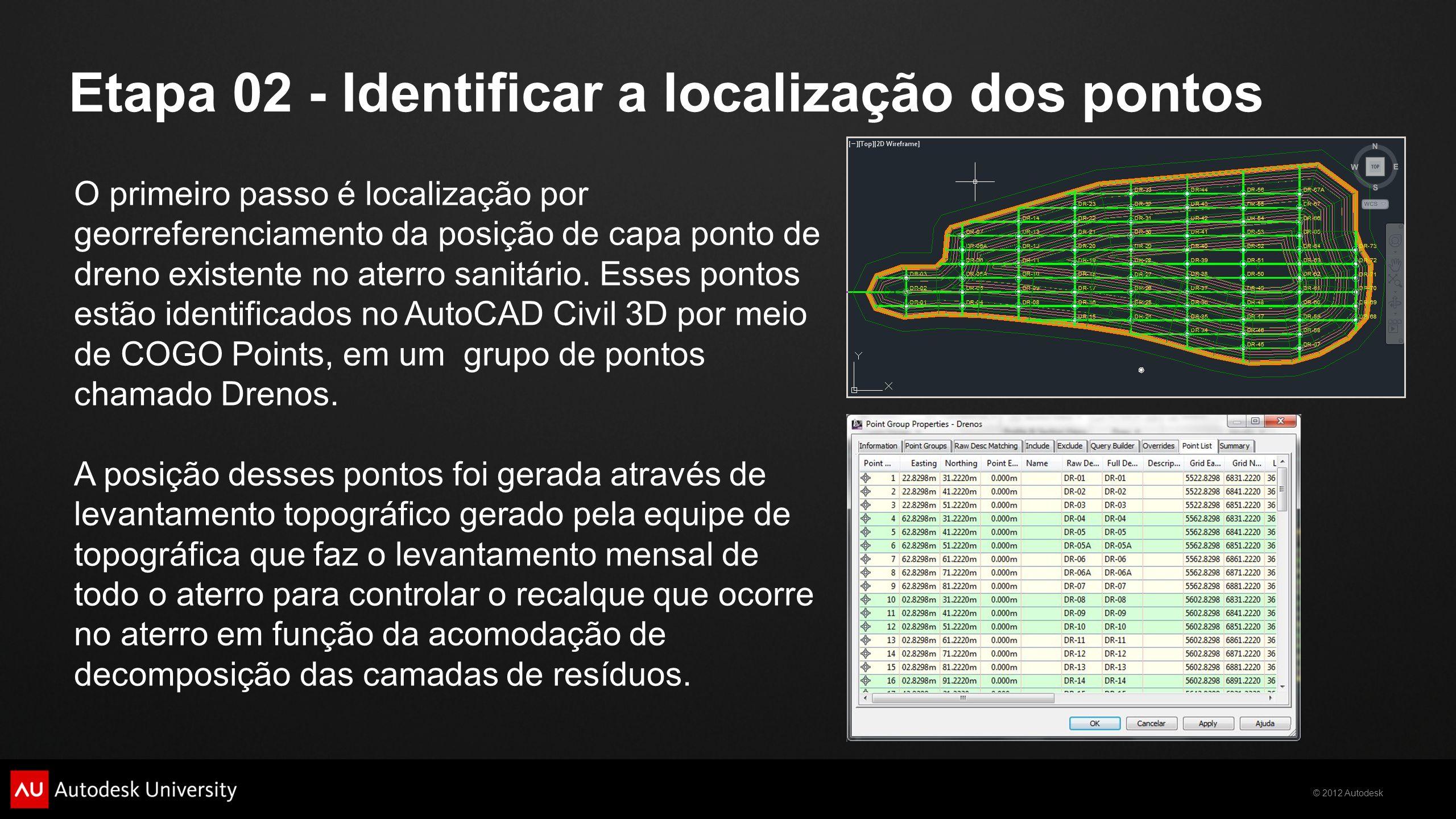 © 2012 Autodesk Etapa 02 - Identificar a localização dos pontos O primeiro passo é localização por georreferenciamento da posição de capa ponto de dre