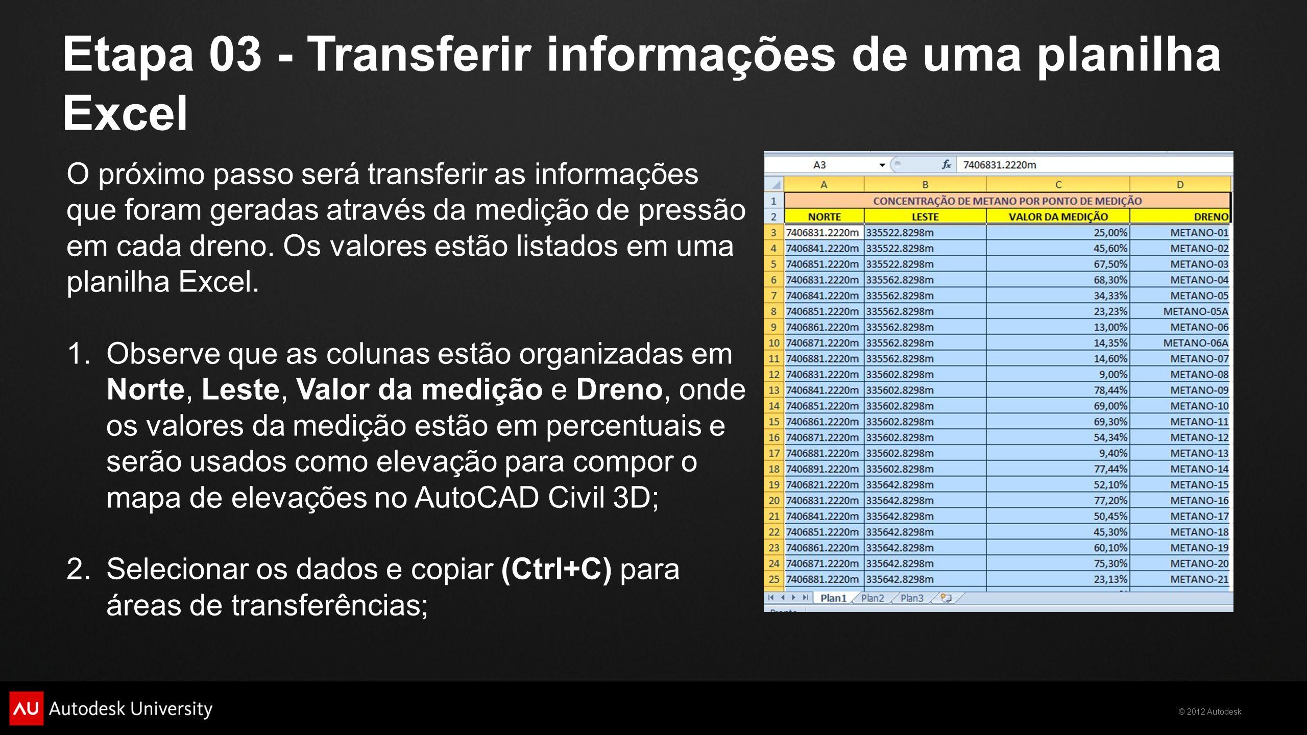 © 2012 Autodesk Etapa 04 - Preparar o arquivo TXT Iniciar um novo arquivo no bloco de notas para colar as informações que foram copiadas do Excel; Colar as informações (Ctrl+V); Observe que as informações estão organizadas em colunas, mas não estão prontas para serem usadas no AutoCAD Civil 3D, desta forma teremos que fazer alguns ajustes.