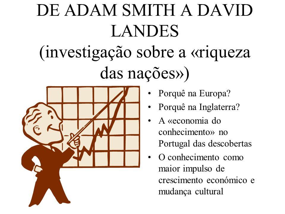 DE ADAM SMITH A DAVID LANDES (investigação sobre a «riqueza das nações») Porquê na Europa? Porquê na Inglaterra? A «economia do conhecimento» no Portu