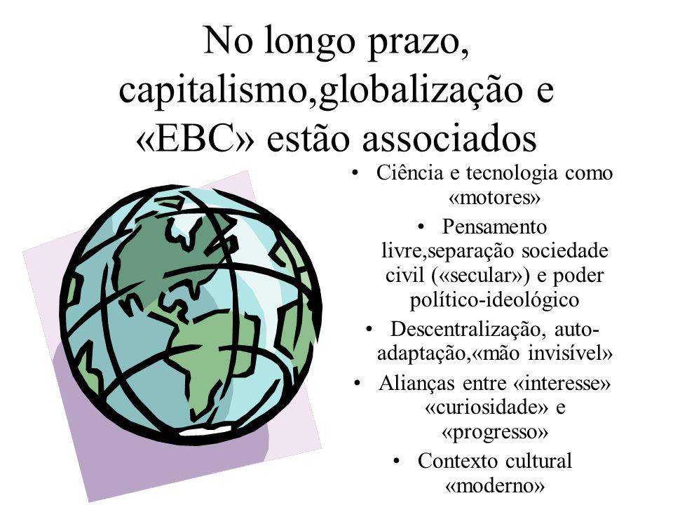 No longo prazo, capitalismo,globalização e «EBC» estão associados Ciência e tecnologia como «motores» Pensamento livre,separação sociedade civil («sec