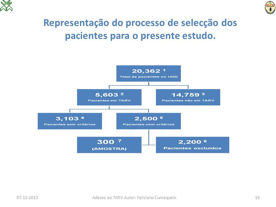 Representação do processo de selecção dos pacientes para o presente estudo. 07-11-2013Adesao ao TARV. Autor: Feliciano Cumaquela.14