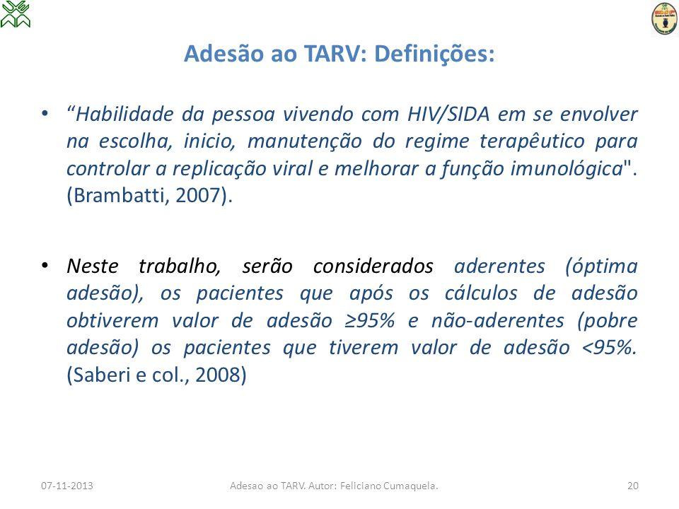 Adesão ao TARV: Definições: Habilidade da pessoa vivendo com HIV/SIDA em se envolver na escolha, inicio, manutenção do regime terapêutico para control