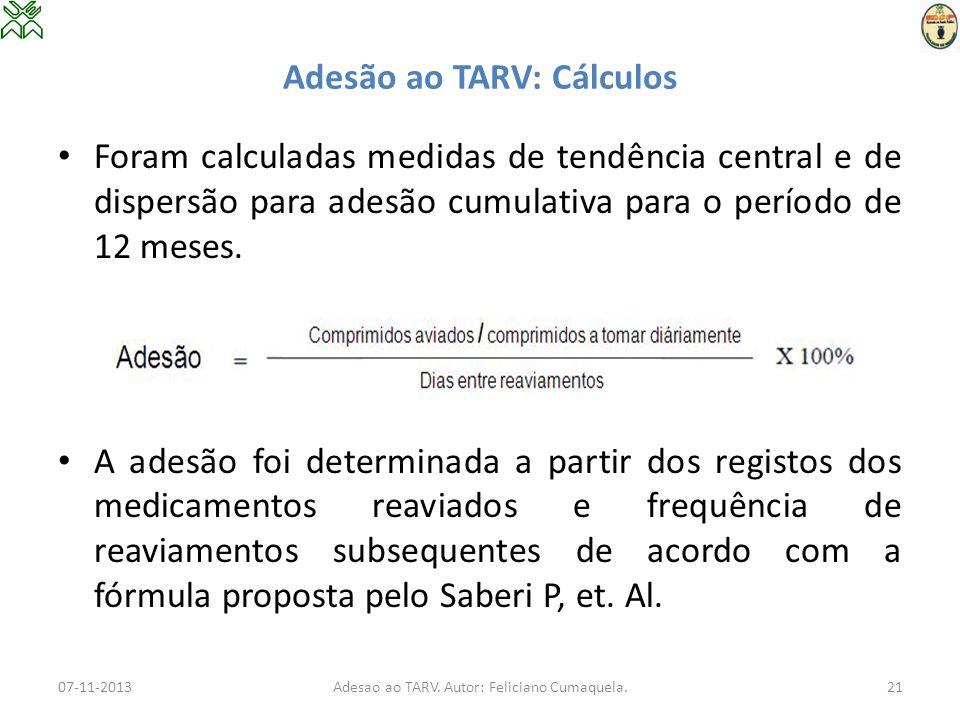 Adesão ao TARV: Cálculos 07-11-2013Adesao ao TARV. Autor: Feliciano Cumaquela.21 Foram calculadas medidas de tendência central e de dispersão para ade