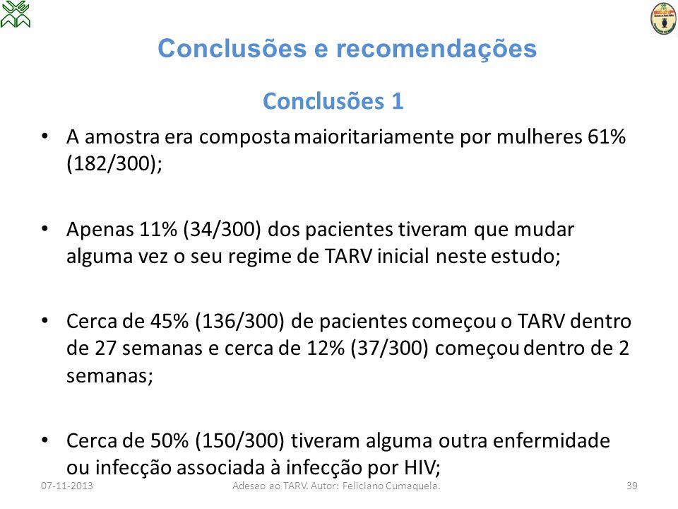 Conclusões 1 A amostra era composta maioritariamente por mulheres 61% (182/300); Apenas 11% (34/300) dos pacientes tiveram que mudar alguma vez o seu