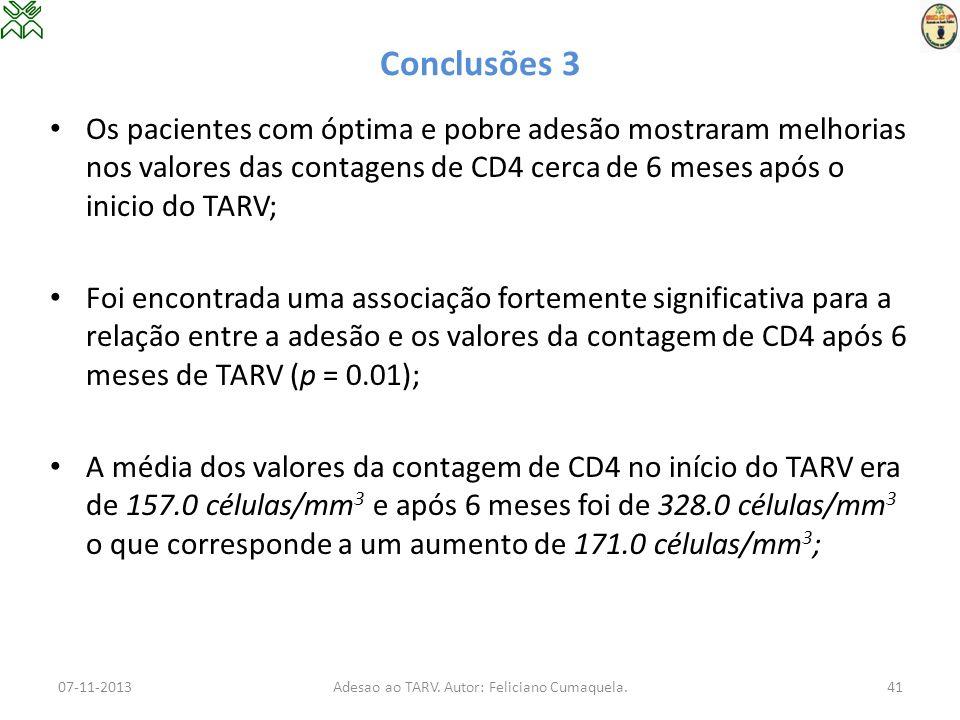 Conclusões 3 Os pacientes com óptima e pobre adesão mostraram melhorias nos valores das contagens de CD4 cerca de 6 meses após o inicio do TARV; Foi e