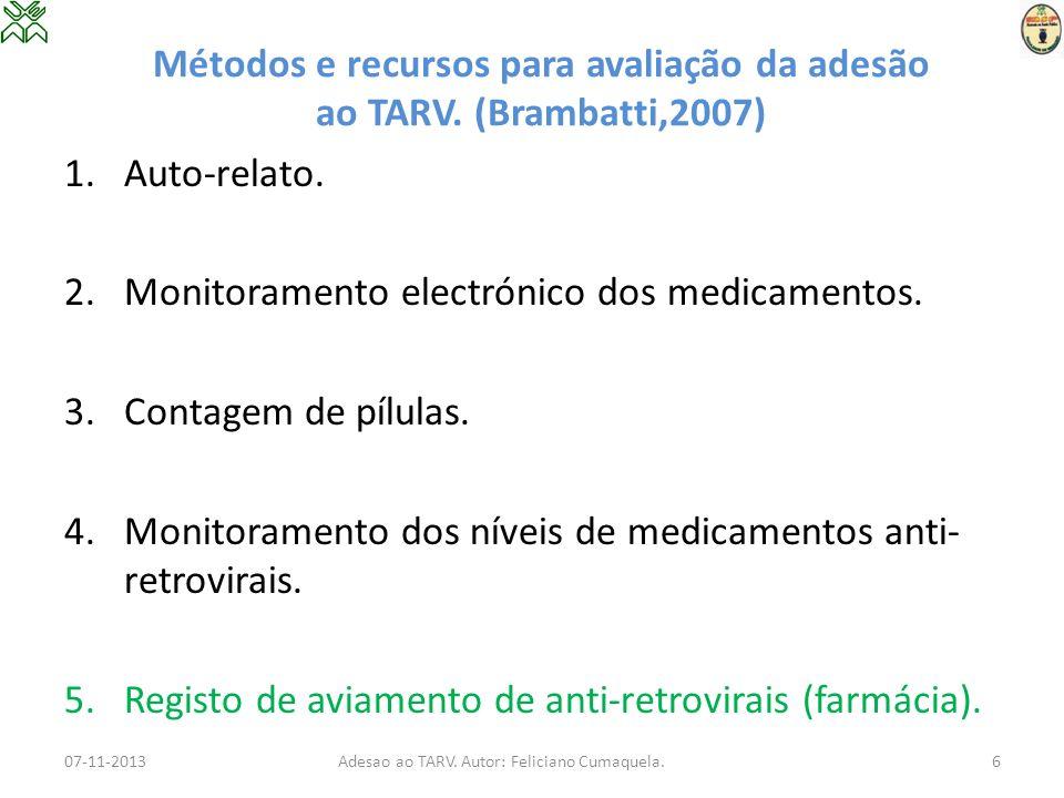 Métodos e recursos para avaliação da adesão ao TARV. (Brambatti,2007) 1.Auto-relato. 2.Monitoramento electrónico dos medicamentos. 3.Contagem de pílul