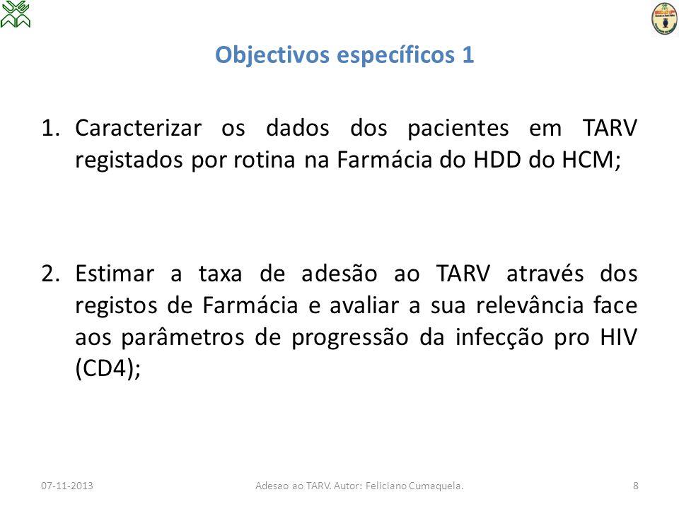 Objectivos específicos 2 3.Analisar a relação entre a taxa de adesão estimada através dos registos e parâmetros sócio- demográficos; 4.Estimar a adesão cumulativa de todos os pacientes por cada um dos meses de seguimento (12 meses) assim como as medidas de tendência central e de dispersão para adesão cumulativa para este período; 07-11-2013Adesao ao TARV.