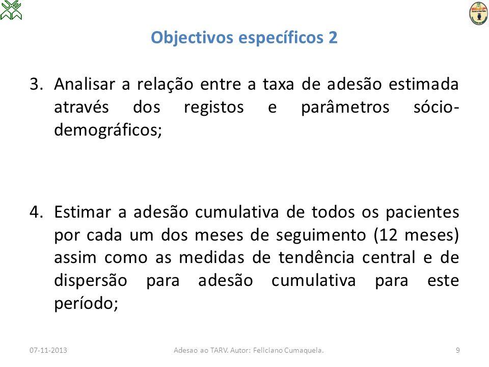 Objectivos específicos 2 3.Analisar a relação entre a taxa de adesão estimada através dos registos e parâmetros sócio- demográficos; 4.Estimar a adesã