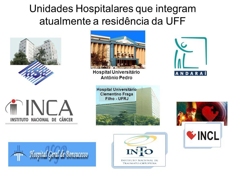Unidades Hospitalares que integram atualmente a residência da UFF Hospital Universitário Clementino Fraga Filho - UFRJ Hospital Universitário Antônio