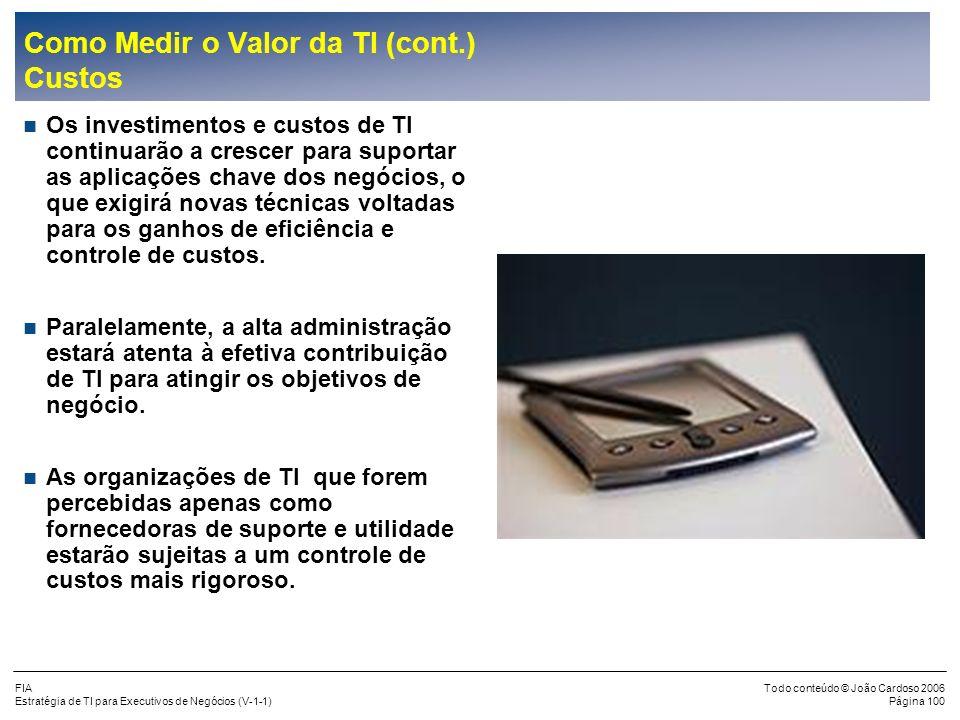 FIA Estratégia de TI para Executivos de Negócios (V-1-1) Todo conteúdo © João Cardoso 2006 Página 99 Como Medir o Valor da TI (cont.) Principais áreas