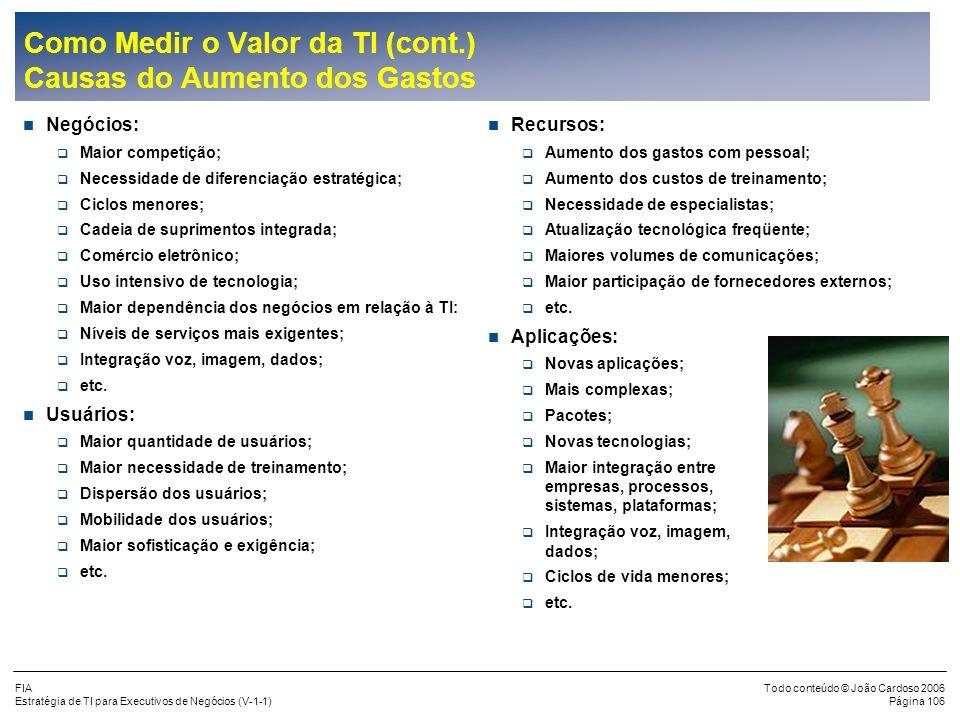 FIA Estratégia de TI para Executivos de Negócios (V-1-1) Todo conteúdo © João Cardoso 2006 Página 105 Como Medir o Valor da TI (cont.) Estratégia do U