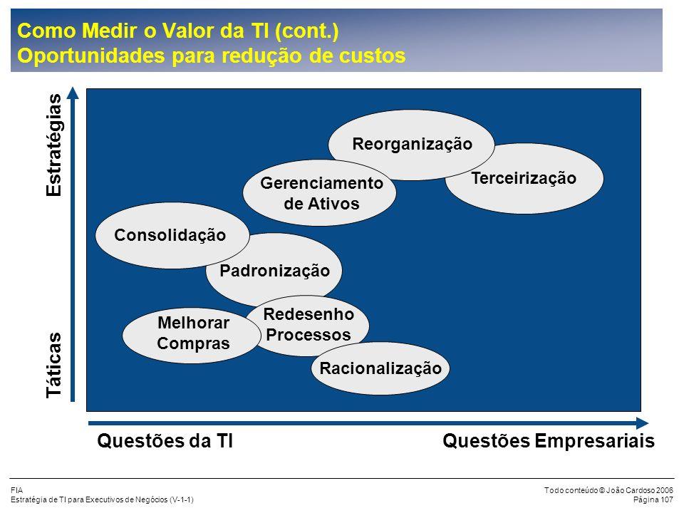 FIA Estratégia de TI para Executivos de Negócios (V-1-1) Todo conteúdo © João Cardoso 2006 Página 106 Como Medir o Valor da TI (cont.) Causas do Aumen