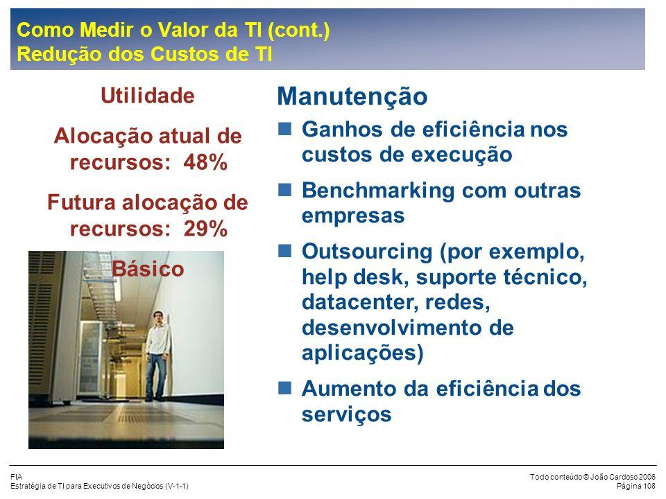 FIA Estratégia de TI para Executivos de Negócios (V-1-1) Todo conteúdo © João Cardoso 2006 Página 107 Como Medir o Valor da TI (cont.) Oportunidades p