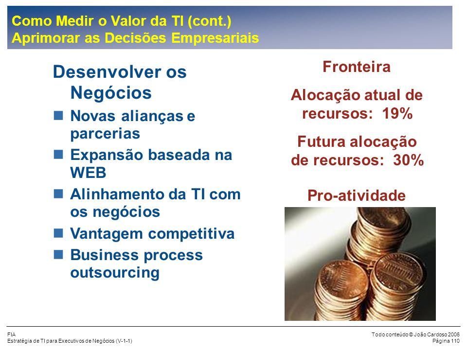 FIA Estratégia de TI para Executivos de Negócios (V-1-1) Todo conteúdo © João Cardoso 2006 Página 109 Objetivos dos Negócios nAumentar a Receita nRedu