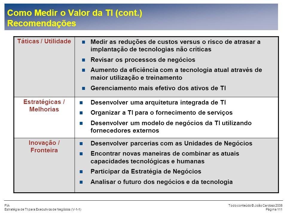 FIA Estratégia de TI para Executivos de Negócios (V-1-1) Todo conteúdo © João Cardoso 2006 Página 110 Desenvolver os Negócios nNovas alianças e parcer