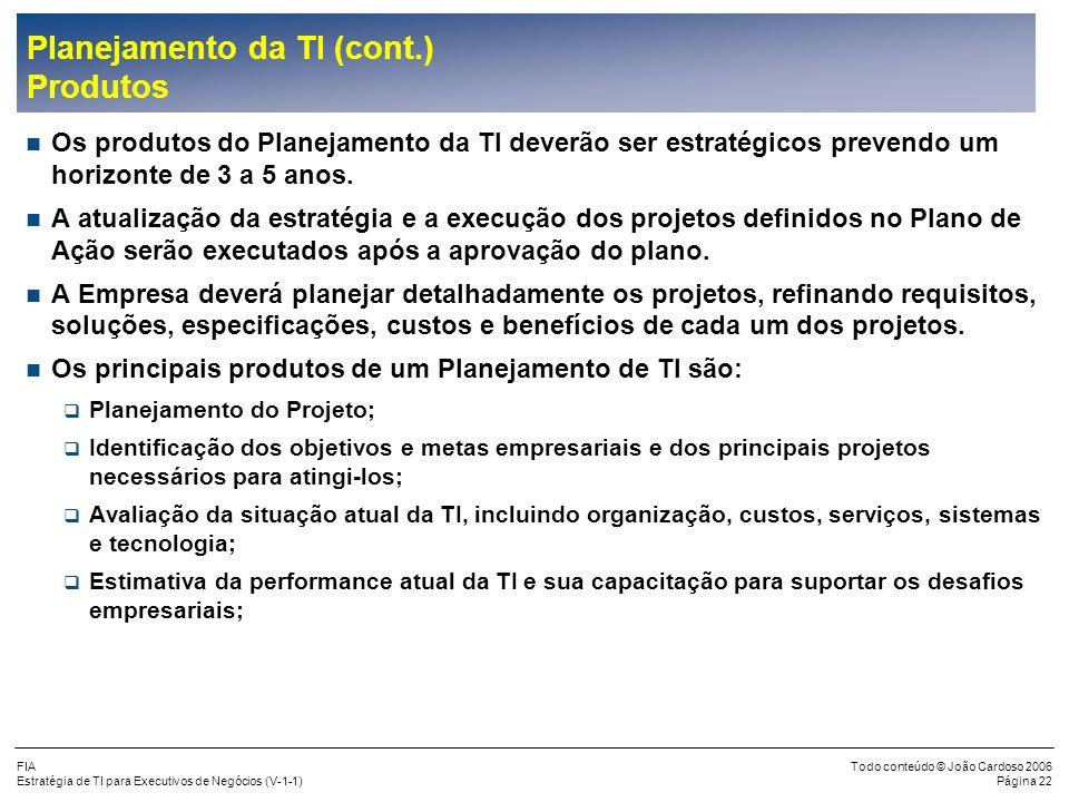 FIA Estratégia de TI para Executivos de Negócios (V-1-1) Todo conteúdo © João Cardoso 2006 Página 21 Planejamento da TI (cont.) Metodologia de Alinham