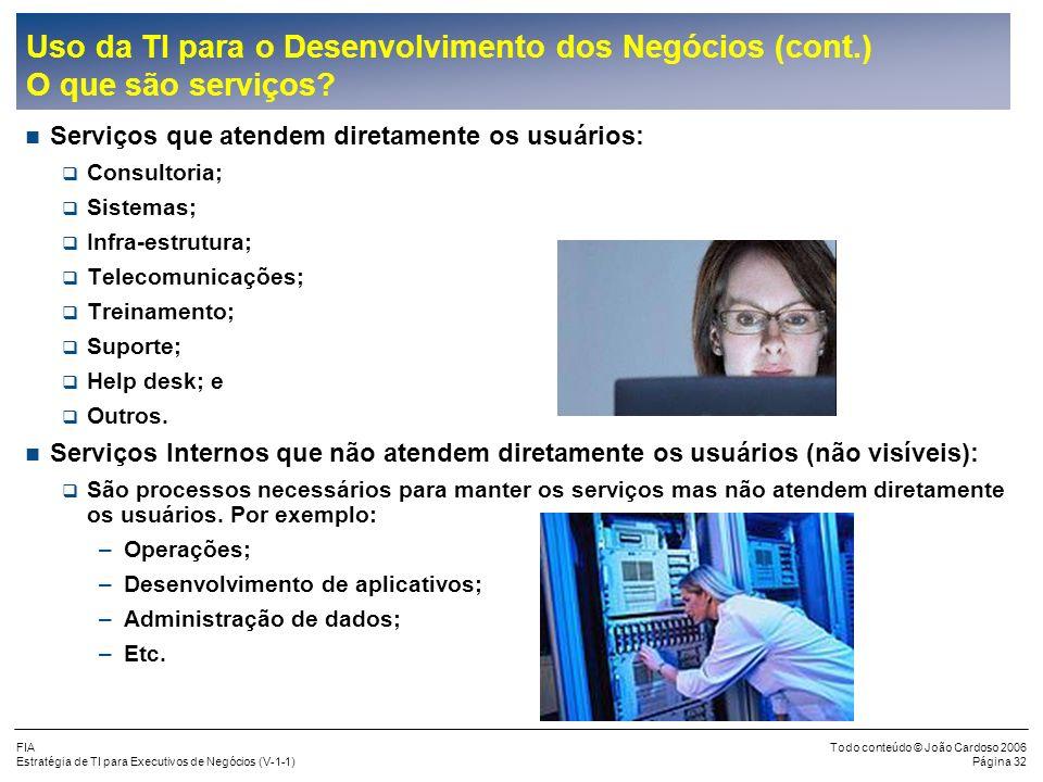 FIA Estratégia de TI para Executivos de Negócios (V-1-1) Todo conteúdo © João Cardoso 2006 Página 31 Uso da TI para o Desenvolvimento dos Negócios A T