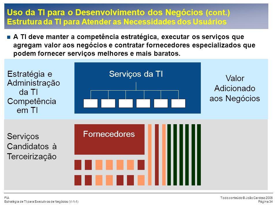 FIA Estratégia de TI para Executivos de Negócios (V-1-1) Todo conteúdo © João Cardoso 2006 Página 33 Uso da TI para o Desenvolvimento dos Negócios (co