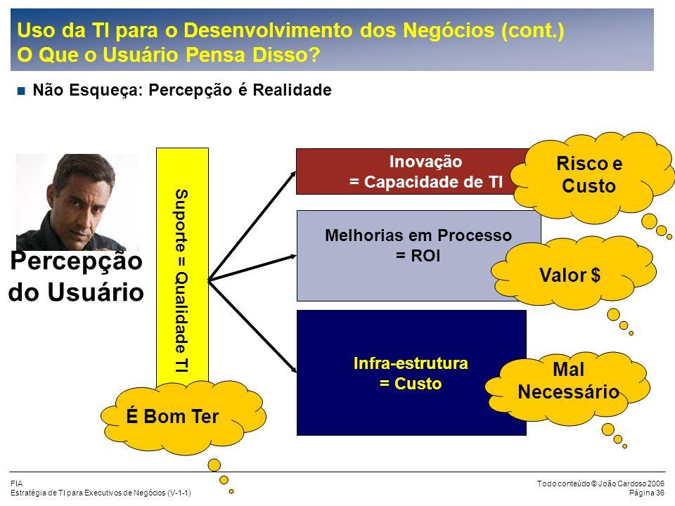 FIA Estratégia de TI para Executivos de Negócios (V-1-1) Todo conteúdo © João Cardoso 2006 Página 35 Uso da TI para o Desenvolvimento dos Negócios (co
