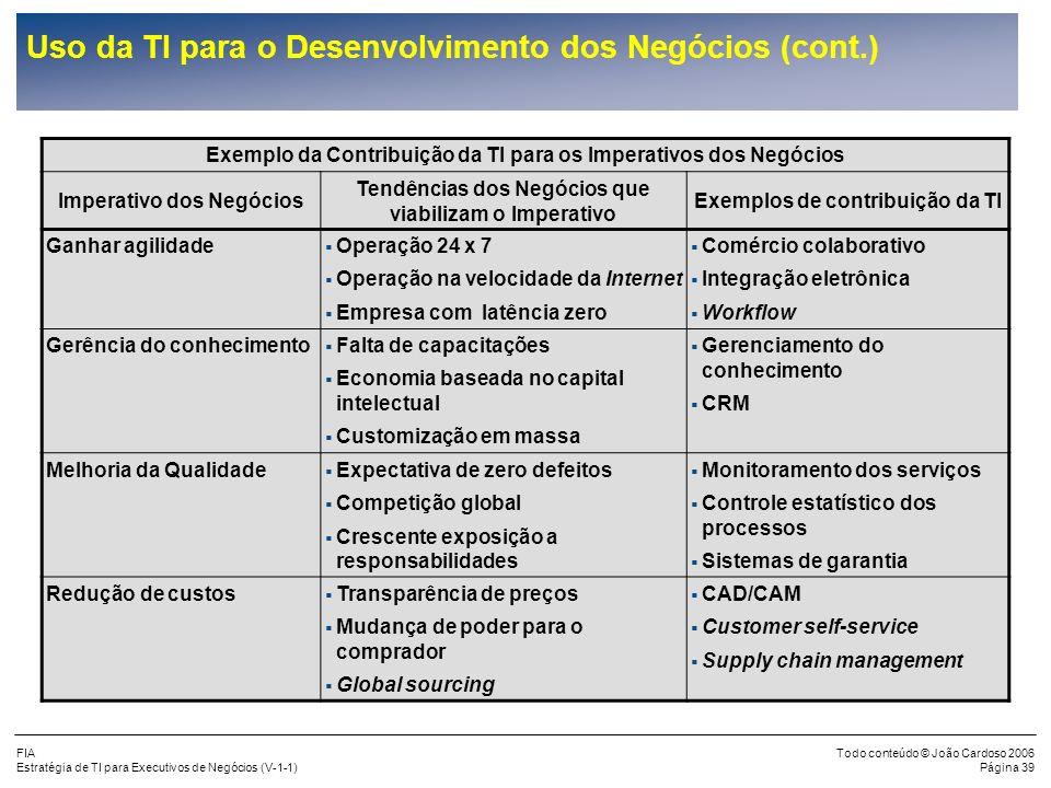 FIA Estratégia de TI para Executivos de Negócios (V-1-1) Todo conteúdo © João Cardoso 2006 Página 38 Uso da TI para o Desenvolvimento dos Negócios (co
