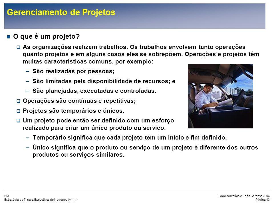 FIA Estratégia de TI para Executivos de Negócios (V-1-1) Todo conteúdo © João Cardoso 2006 Página 42 Resultados Típicos dos Grandes Projetos (cont.) Q