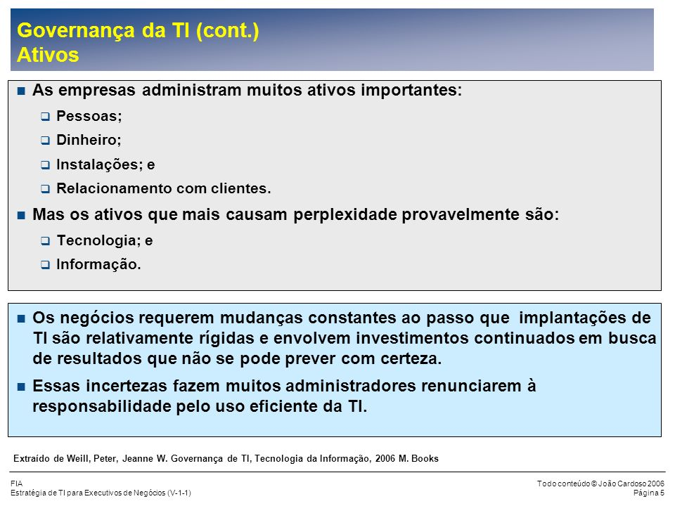 FIA Estratégia de TI para Executivos de Negócios (V-1-1) Todo conteúdo © João Cardoso 2006 Página 105 Como Medir o Valor da TI (cont.) Estratégia do Uso da Tecnologia (cont.) Tipo A:Empresas líderes na adoção de tecnologia Tipo B:Empresas que seguem os líderes Tipo C:Empresas conservadoras Comparação de Gastos com TI Tipo A:3,5 vezes das empresas do Tipo C Tipo A:2,2 vezes das empresas do Tipo B Tipo B:1,6 vezes das empresas do Tipo C Para uma empresa mudar do Tipo C para o Tipo B, ela deverá aumentar os gastos com TI em 160%